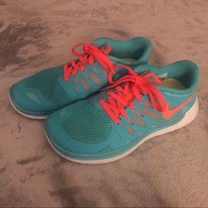NIKE FREE 5.0 Aqua Blue Green Orange Shoe 8.5 $129